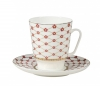 Lomonosov Bone China Cup Set May Red Flower Blues 5.6 fl.oz/165 ml 2 pc