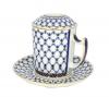 Lomonosov Porcelain Cobalt Net Covered Herbal Steep 12.8 oz Mug with Saucer