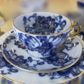 Lomonosov Imperial Russian Porcelain Singing Garden Tea Set  3pcs