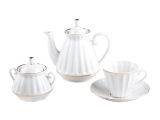 Lomonosov Imperial Porcelain Tea Set White 6/20p