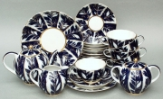 Lomonosov Imperial Porcelain Tea Set Tulip Winter Night 21pcs