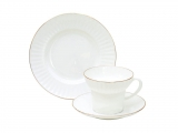 Imperial Porcelain Gold Ribbon Bone China Tea Set 3pc
