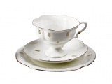 Lomonosov Porcelain Bone ChinaTea Set Cup 7.8 oz/220 ml, Saucer and Cake Plate Loops 3pc
