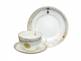 Lomonosov Imperial Porcelain Russian Gold Medallion Bone China Tea Set 3pc