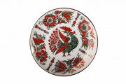 "Decorative Wall Plate Red Fire Bird 7.7""/195 mm Lomonosov Imperial Porcelain"
