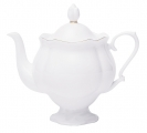 "Lomonosov Imperial Porcelain Bone China Teapot ""Golden Ribbon"""