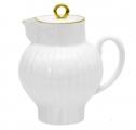 Russian Porcelain Lomonosov Porcelain Bone China Creamer Wave Golden Edge 9 fl.oz /270 ml