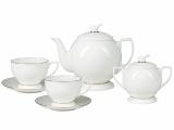 Bone China Tea Set 6/14 Pearl Golden Ribbon Lomonosov Porcelain