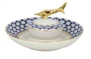 Beluga Caviar Dish Cobalt Net Lomonosov Imperial Porcelain Factory