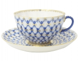 Lomonosov Imperial Porcelain Cobalt Net Tea Cup and Saucer Tulip 8.45 oz/250 ml