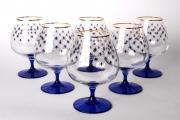 Imperial Porcelain Factory Cognac Brandy Glass 18.6 fl.oz Set 6 pc Cobalt Net