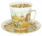 Lomonosov Imperial Porcelain Cup and Saucer Bone China May Golden Spring 5.6 fl.oz/165 ml