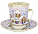 Lomonosov Imperial Porcelain Cup and Saucer Bone China May Winter Day 5.6 fl.oz/165 ml