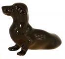 Dachshund Little Dog Brown Colored Lomonosov Porcelain Figurine