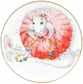 Decorative Wall Plate 2020 Year of RAT Lady Mouse in Pink