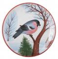 "Decorative Wall Plate Bullfinch Red Breast 7.7""/195 mm Lomonosov Imperial Porcelain"