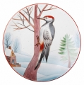 "Decorative Wall Plate Great Spotted Woodpecker 7.7""/195 mm Lomonosov Imperial Porcelain"