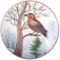 "Decorative Wall Plate Parrot Сrossbill 7.7""/195 mm Lomonosov Imperial Porcelain"