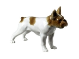 French Bulldog White Colored Lomonosov Porcelain Figurine