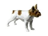 French Bulldog White Colored Lomonosov Porcelain Figurine