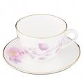 Lomonosov Bone China Cup and Saucer Spring-2 Tender Peony Lilac 8.45 fl.oz 250 ml