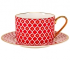 Lomonosov Bone China Porcelain TeaCup and Saucer Scarlet v.2 8.45 oz 250 ml