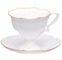 Lomonosov Imperial Porcelain Bone China Coffee Cup and Saucer Golden Ribbon