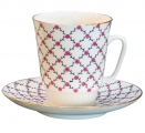 Lomonosov Imperial Porcelain Bone China Cup and Saucer Pink Net