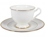 Lomonosov Imperial Porcelain Bone China Cup and Saucer Aisedora Golden Ribbon