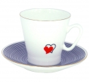Lomonosov Imperial Porcelain Bone China Espresso / Coffee Cup and Saucer Beloved Hearts