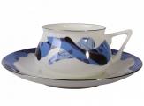 Lomonosov Porcelain Bone China Cup and Saucer Bilibina Blue Caramel