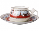 Lomonosov Imperial Porcelain Bone China Cup and Saucer Bilibina Moscow Kremlin