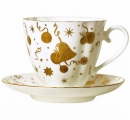 Lomonosov Imperial Porcelain Bone China Cup and Saucer Carnation Holiday