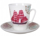Lomonosov Imperial Porcelain Bone China Cup and Saucer May Scarlet Sails