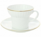 Lomonosov Imperial Porcelain Bone China Cup and Saucer Wave Gold Edging
