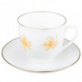 Lomonosov Imperial Porcelain Bone China Cup and Saucer Yellow Flowers