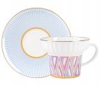 Lomonosov Imperial Porcelain Bone China Espresso Coffee Cup Set Wave Geometry #1 5.24 oz155 ml
