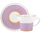 Lomonosov Imperial Porcelain Bone China Espresso Coffee Cup Set Wave Geometry #2 5.24 oz 155 ml