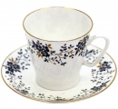 Lomonosov Imperial Porcelain Bone China Espresso Cup and Saucer Tiny Branches