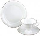 Lomonosov Imperial Porcelain Bone China Tea Cup Set 3 pc Golden Ribbon