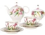 Lomonosov Imperial Porcelain Bone China Tea Set 20pc Dome Aquarelle