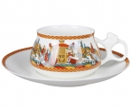 Lomonosov Imperial Porcelain Cup and Saucer Bilibina Dadon Army