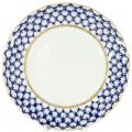 """Lomonosov Imperial Porcelain Dessert Plate Cobalt Net Cake Tulip 7""""/180 mm"""