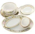 Lomonosov Imperial Porcelain Dining Set 26 piece Jade Background