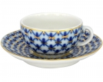 Lomonosov Imperial Porcelain Espresso Cup and Saucer 40 gr Cobalt Net 1.7 oz/50 ml