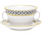 Lomonosov Imperial Porcelain Soup Bowl and Saucer Cobalt Net 12.7 oz/360 ml