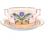 Lomonosov Imperial Porcelain Soup Bowl and Saucer Moscow River 14.5 oz/430 ml