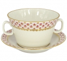 Lomonosov Imperial Porcelain Soup Bowl and Saucer Red Net 12.7 oz/360 ml