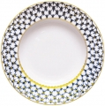 "Lomonosov Imperial Porcelain Soup Plate Cobalt Net 8.7""/220mm"