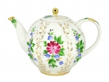 Lomonosov Porcelain Tea Pot Tulip Golden Grasses 10 Cups 67 oz 2000 ml